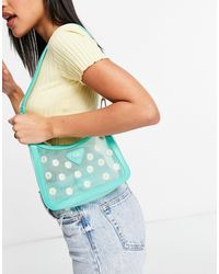 Skinnydip London Clear Shoulder Bag With Daisy Print And Green Trim
