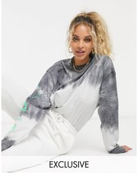 Collusion Long Sleeve Ombre T Shirt With Sleeve Print-grey