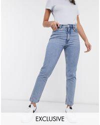 Monki Kimomo High Waist Mom Jeans With Organic Cotton - Blue