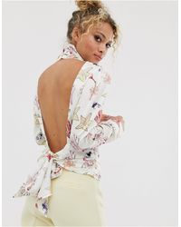 Never Fully Dressed Button High Neck Open Back Top - Multicolour