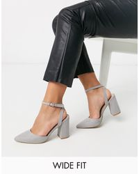 Raid Wide Fit Exclusive Neima Block Heeled Shoes - Grey