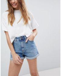 ASOS Ritson - Mom shorts di jeans blu vintage