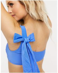 American Eagle Top de bikini azul palabra de honor asimétrico de