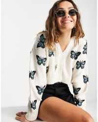 TOPSHOP Knitted Butterfly Print Crop Cardi - White
