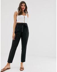 Vila Paper Bag Waist Trousers - Black