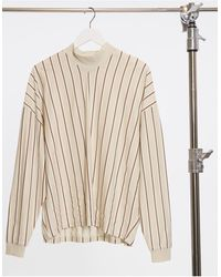 ASOS – Oversized T-Shirt aus Bio-Baumwolle und geripptem Stehkragen mit beigen Längsstreifen - Natur