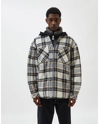 Pull&Bear Sherpa Jacket With Jersey Hood - Multicolour