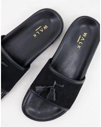 Walk London Ronny Tassel Slider Sandals - Black