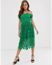 Chi Chi London Bardot Lace Midi Dress - Green