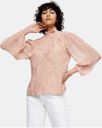 TOPSHOP Lace Trim Blouse - Pink