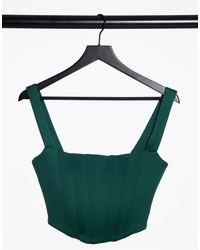 True Violet Exclusive Corset Detail Pointed Bustier Top - Green