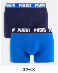 PUMA Набор Из 2 Темно-синих И Голубых Боксеров С Логотипом На Поясе -голубой - Синий