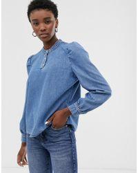 ONLY Denim Shirt With Shoulder Detail - Blue