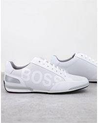 BOSS by Hugo Boss - Низкие Кожаные Кроссовки Белого Цвета С Крупным Логотипом Saturn-белый - Lyst