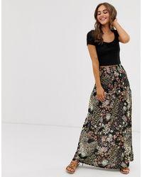 ASOS Jupe longue froncée à motif floral grunge - Multicolore