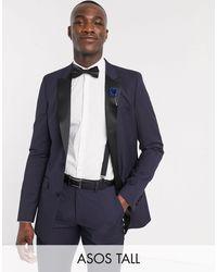 ASOS Tall Skinny Tuxedo Suit Jacket - Blue