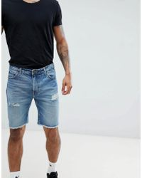 5bd05b2068 Lee Jeans Rider Shorts In Kick It Wash in Blue for Men - Lyst