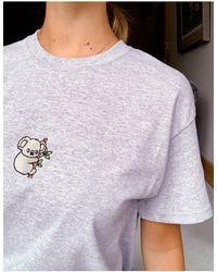 New Love Club T-shirt oversize à motif koala brodé - Gris