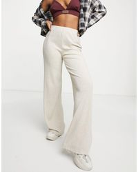 Bershka Wide Leg Knitted Ribbed Trousers - Multicolour