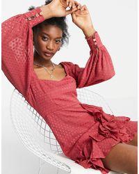 Forever New Пыльно-розовое Платье Мини Из Ткани Добби С Оборками И Объемными Рукавами -розовый Цвет