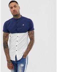 SIKSILK - Camisa blanca de manga corta con panel en contraste - Lyst