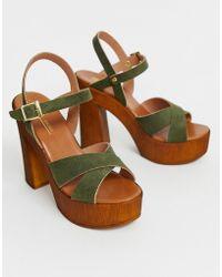 ASOS - Translate Heeled Sandals In Khaki - Lyst