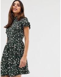 AX Paris Mini-jurk Met Korte Mouwen Met Ruches - Groen