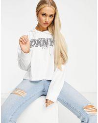 DKNY Felpa con cappuccio bianca con logo sul davanti - Bianco