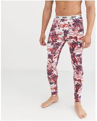 ASOS Christmas Lounge Pyjama megging With Snow Scene And Branded Waistband - Red