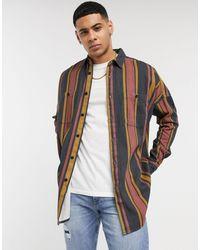 ASOS Jaren 90's Oversized Gestreept Overhemd Met Lange Mouwen - Rood