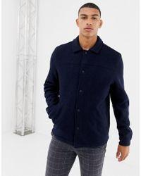 Farah Finley Boiled Wool Coach Jacket In Navy - Blue