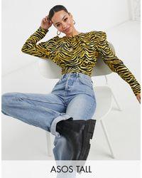 ASOS Blusa de manga larga voluminosa con estampado de tigre de ASOS DESIGN Tall - Multicolor