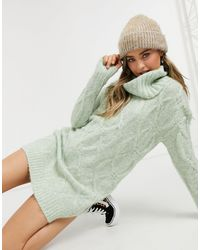Pimkie Cable Knit Jumper Dress - Green