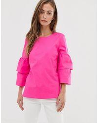 J.Crew Mercantile Tiered Sleeve Top - Pink
