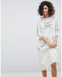 INTROPIA - Hand Embroidered Lace Midi Dress - Lyst