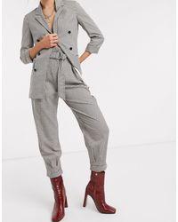 Bershka Tapered Check Pant - Grey