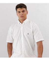 f98e30568b Big & Tall - Camicia bianca leggera in twill a maniche corte con logo -  Bianco