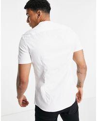 ASOS Wedding Slim Short Sleeve Sateen Shirt With Mandarin Collar - White