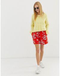 B.Young Floral Shorts - Red