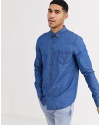 Brave Soul Slim Fit Denim Shirt - Blue