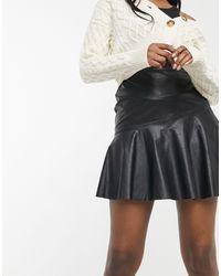 New Look Черная Расклешенная Юбка Из Искусственной Кожи -черный