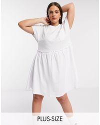 Noisy May Mini T-shirt Dress With Pocket Detail - White