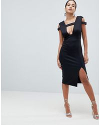 fbf2137822d29 ASOS Midi Velvet Pencil Dress With V-neck in Black - Lyst