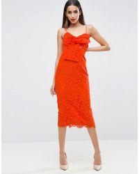 ASOS - Lace Cami Bow Front Midi Pencil Dress - Lyst