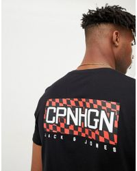 Jack & Jones - Originals T-shirt With Checkerboard Back Graphic - Lyst