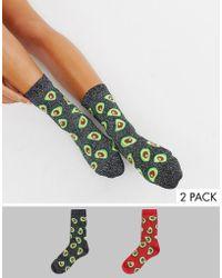 Monki - 2-pack Glitter Avocado Socks In Black And Red - Lyst