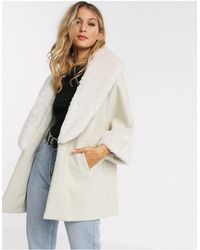 River Island Relaxed Coat With Faux Fur Trims - Natural