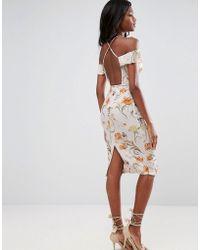 ASOS - Cold Shoulder Soft Floral Midi Dress - Lyst