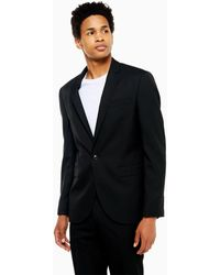 TOPMAN Giacca da abito monopetto slim nera - Nero
