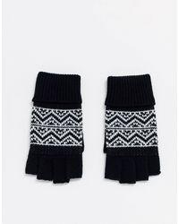 ASOS – Schwarze, fingerlose Handschuhe mit Norwegermuster